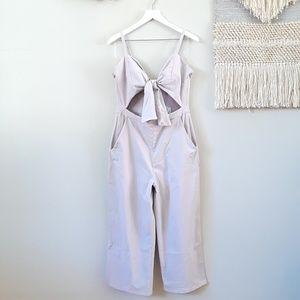 Sadie & Sage   Tie Front Jumpsuit - Lilac Gray